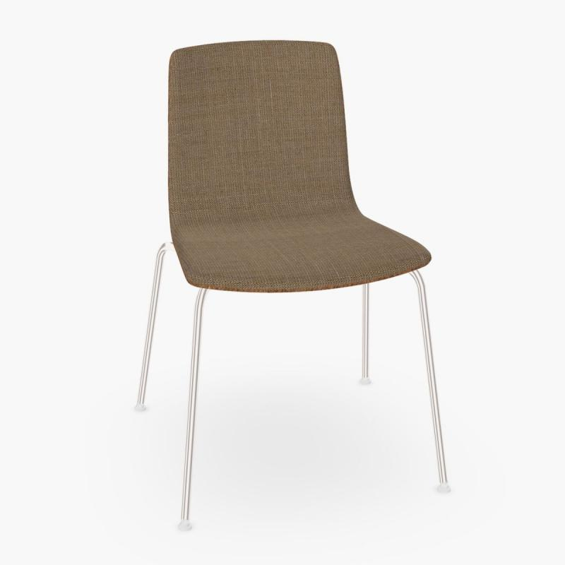 Aava Chair, Brown Fabric Front Upholstery / Walnut Shell / Chromed Legs