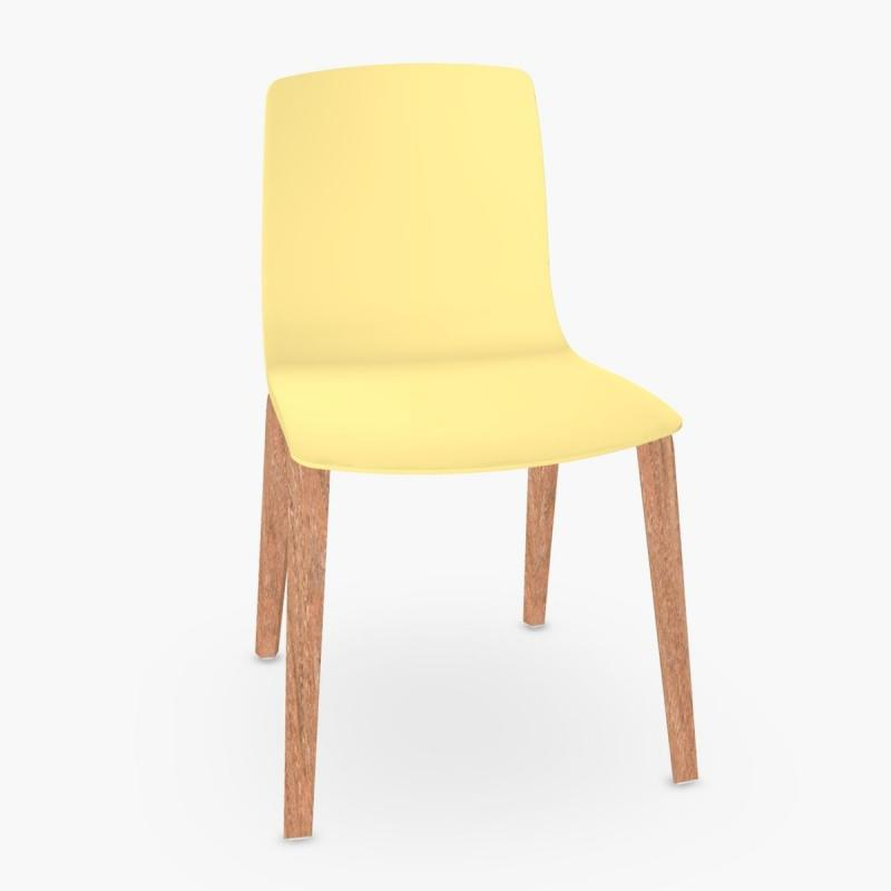 Aava Chair, Yellow Shell / Wood Legs