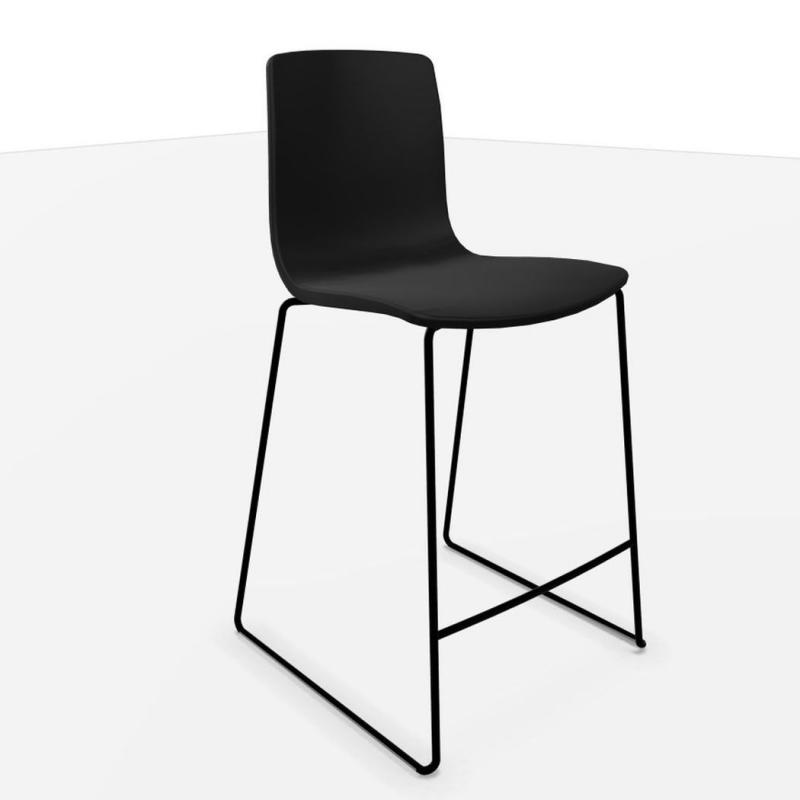 Aava Counter Stool, Black Seat / Matt Black Sled Base
