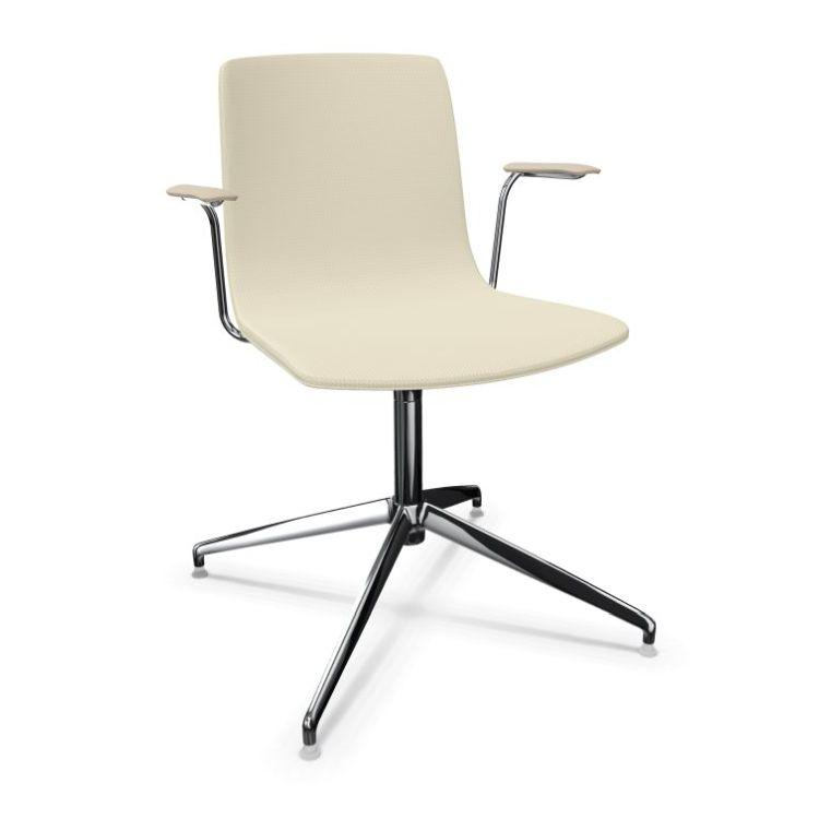 Aava Chair With Armrests, Beige Upholstery / Polished Aluminium Swivel Base