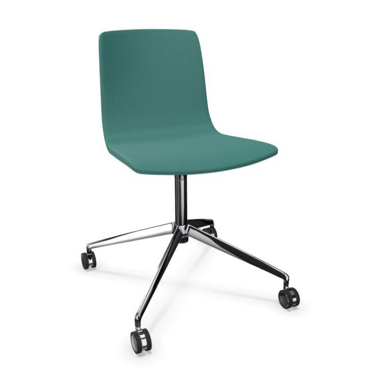 Aava Chair, Green Upholstery / Polished Aluminium Swivel Base With Castors