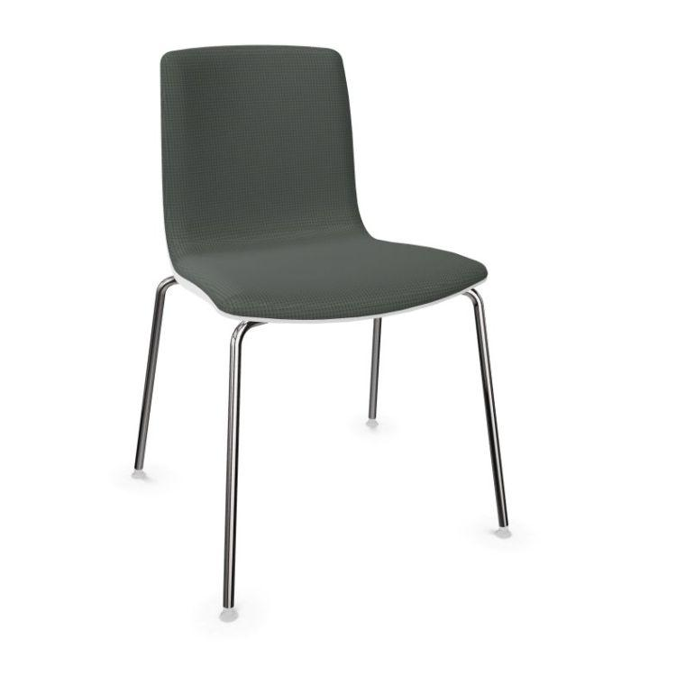 Aava Chair, Grey Front Upholstery / White Shell / Chromed Tube Base
