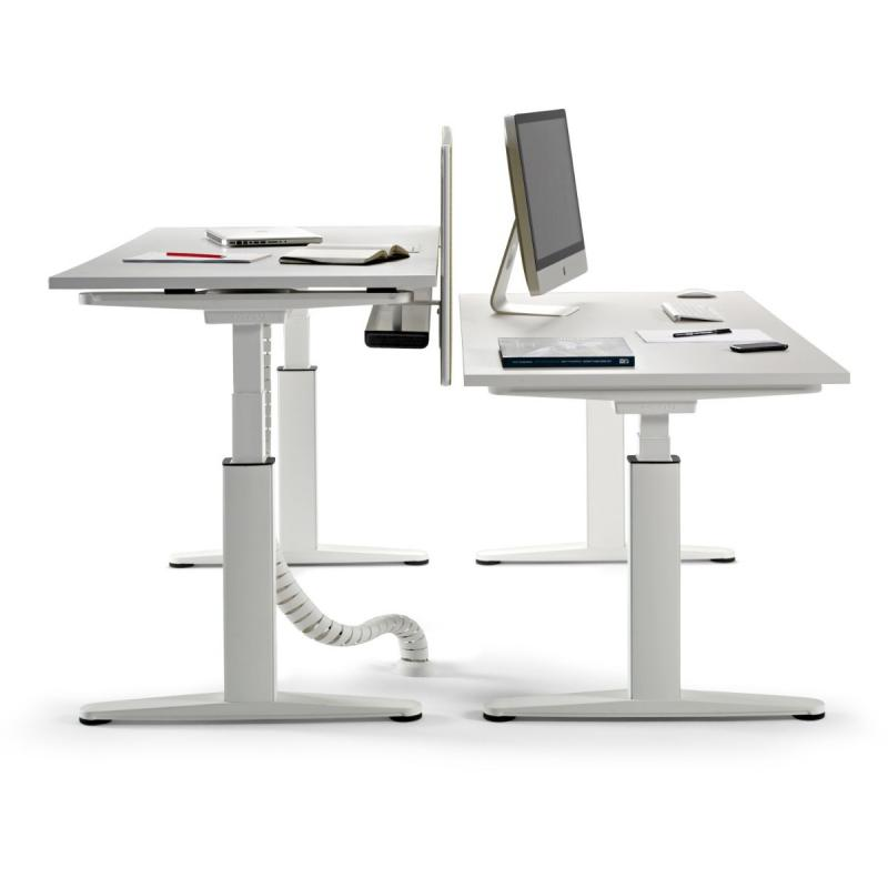 Mobility Step Height Adjustable Twin Desk, 160x164x64-129cm, White MFC Table Top / White Frame