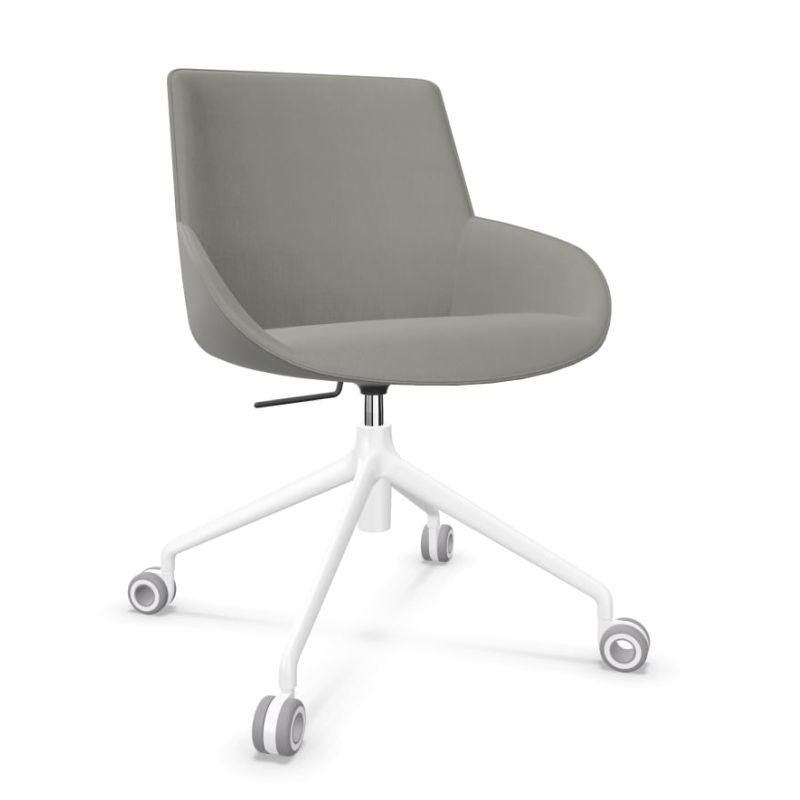 Noom 30 Chair, Grey Upholstered Seat / White Swivel Base With Castors