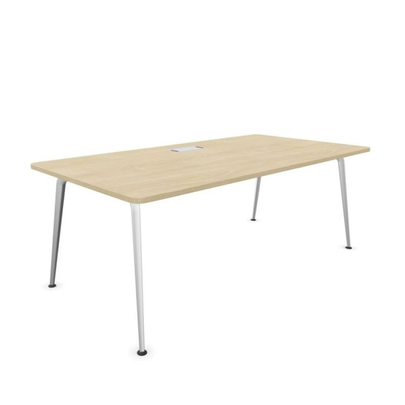 Twist Operative Desk, 200x100cm, Lime Oak MFC Top / Silver Beam & Legs