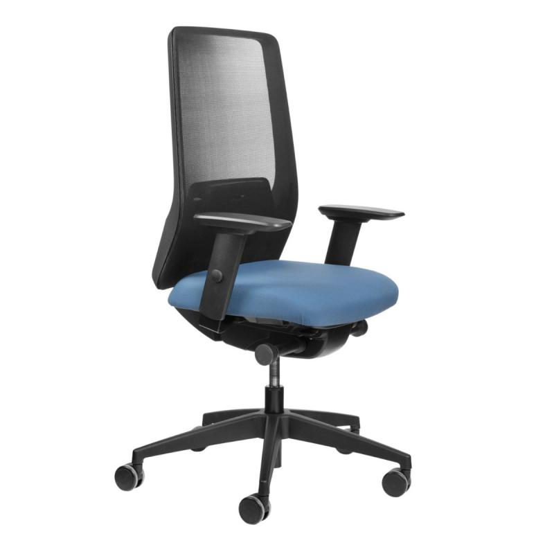 AIMis1 1S04 Office Chair, Mesh Backrest / Light Blue Seat / Black Base