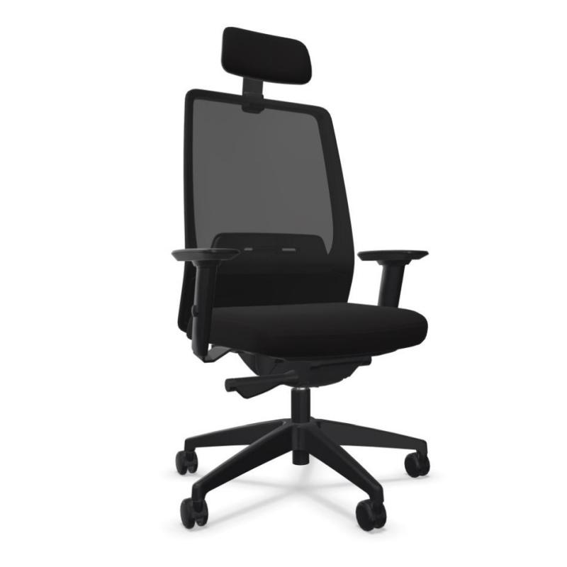 AIMis1 1S13 Office Chair With Headrest, Mesh Backrest / Black Seat / Black Base