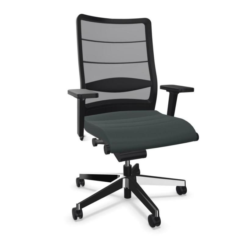 AirPad 3C42 Office Chair, Membrane Backrest / Black Leather Seat / Polished Aluminium Base