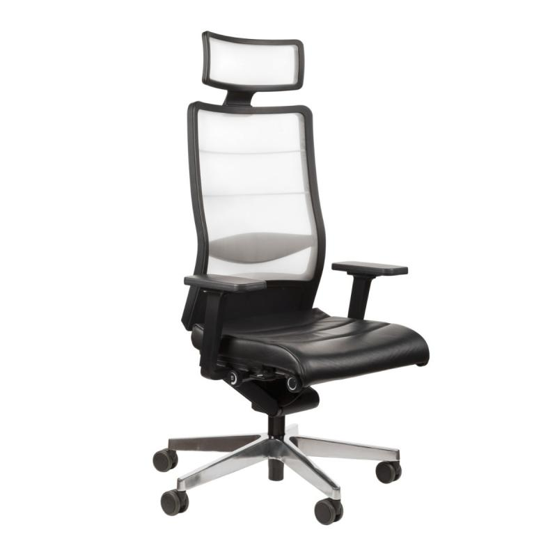 AirPad 3C72 Office Chair, Membrane Backrest / Black Leather Seat / Polished Aluminium Base