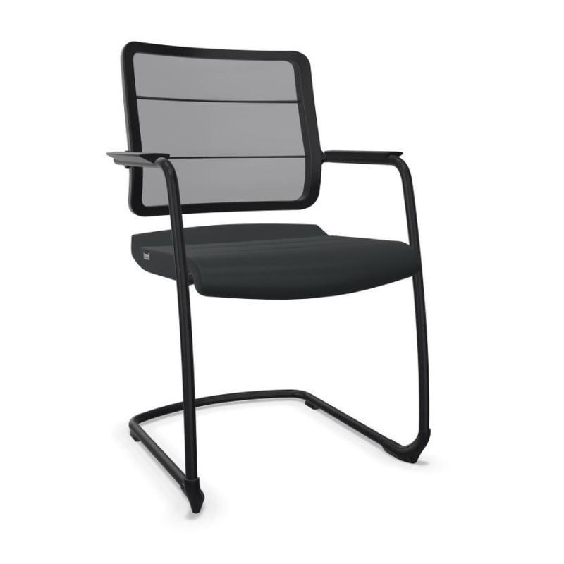 AirPad 5C30 Visitor Chair, Black Membrane Backrest / Black Fabric Seat / Black Frame
