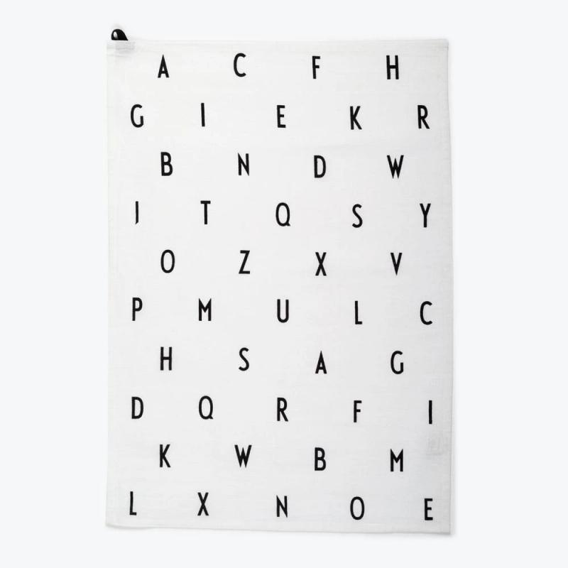 AJ Vintage ABC Tea Towel, White