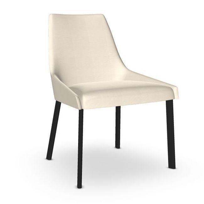 Alya Chair, White Upholstery / Black Tube Legs