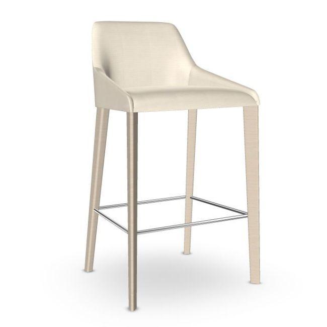 Alya Counter Stool, White Upholstery / Wooden Legs
