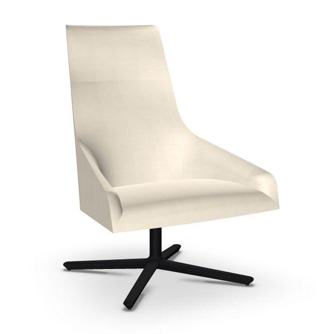 Alya Lounge Chair, White Upholstery / Black Swivel Base