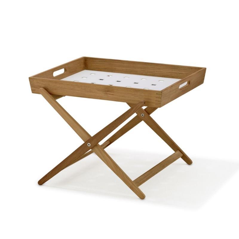 Amaze Folding Side Table, Teak With White Aluminium