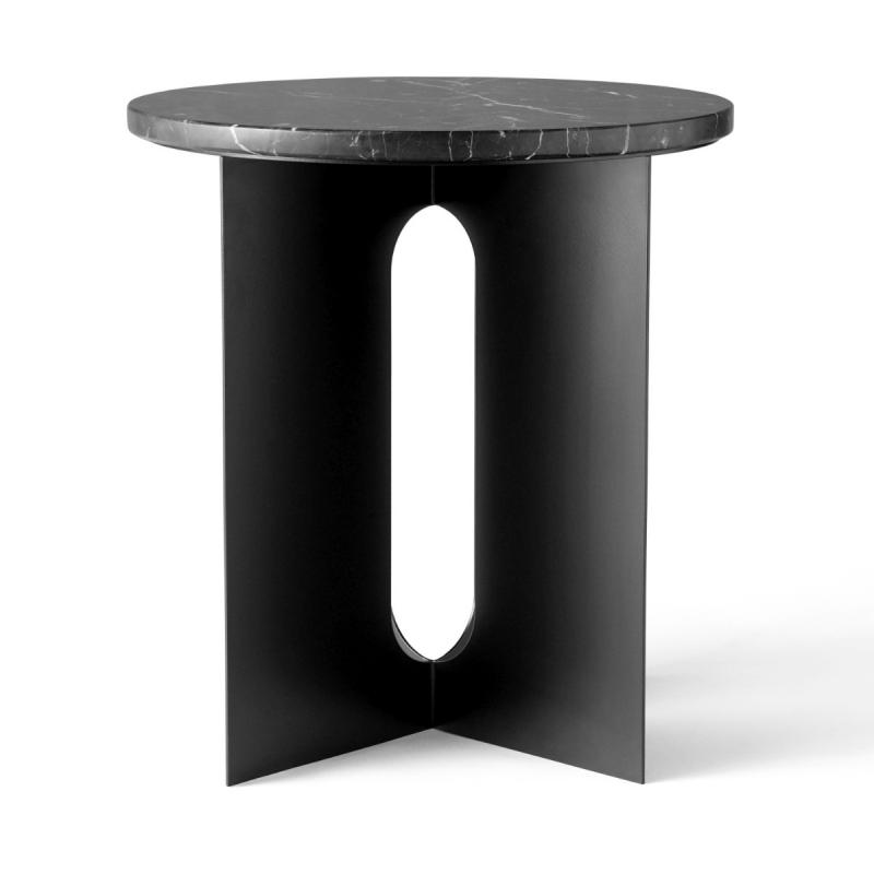 Androgyne Side Table, Black Marble Top / Black Steel Base