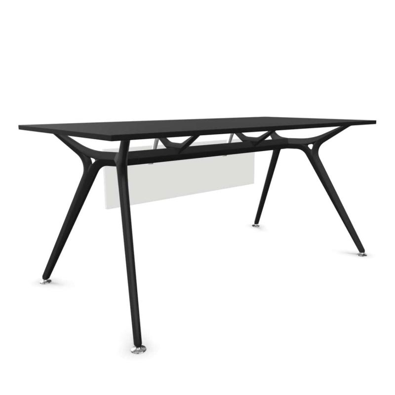 Arkitek Desk, 160x80cm, With Modesty Panel, Black MFC Table Top / Black Frame