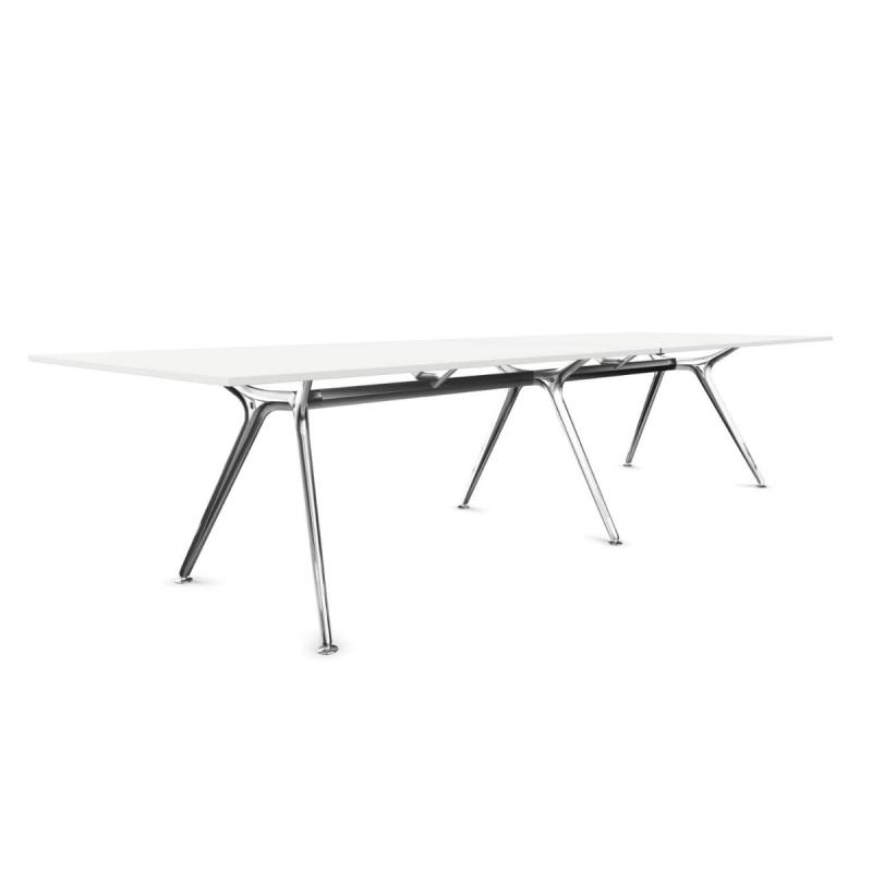 Arkitek Meeting Table, 320x120cm, White MFC Table Top / Chromed Frame