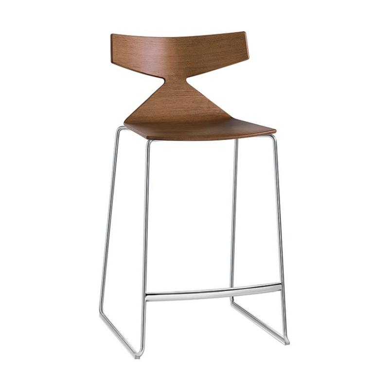 Saya Bar Stool, H65cm, Oak Seat / Chromed Sled Base