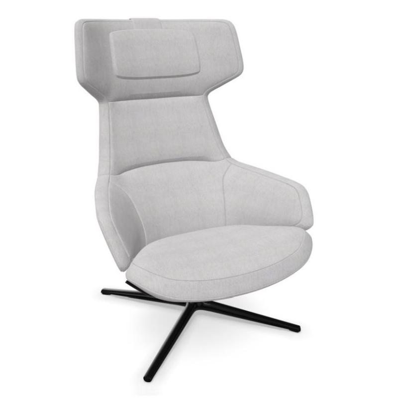 Aston Club Lounge Armchair, High Back, Light Grey Upholstery / Black 4 Ways Base