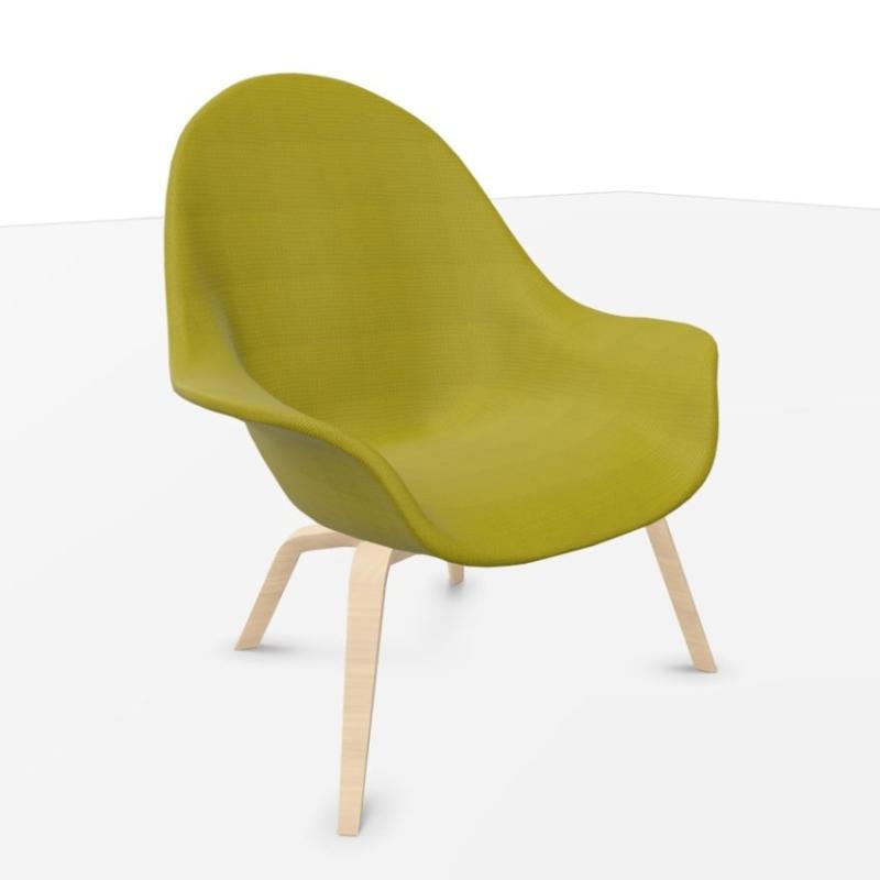 Atticus Lounge Chair, High, Yellowish-Green Seat / Oak Legs
