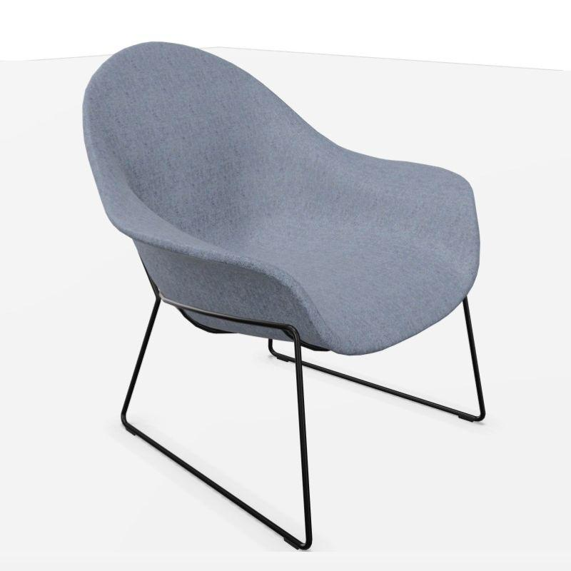 Atticus Lounge Chair, Low, Green-Blue Seat / Black Metal Frame