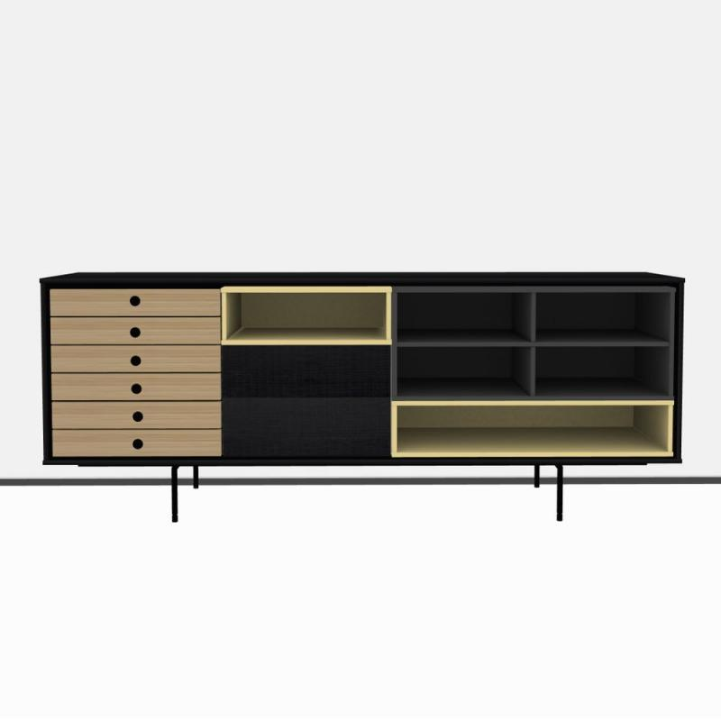 Aura Sideboard, 180x68cm, Black, Natural Oak and Yellow