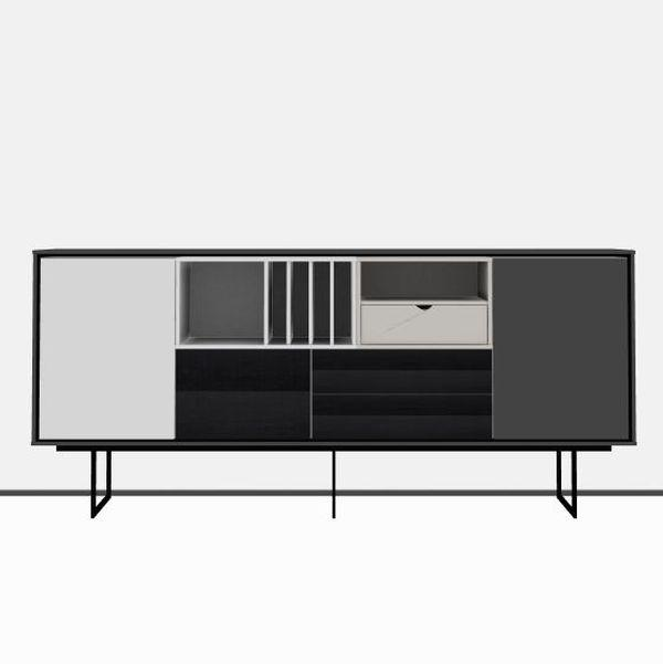 Aura Sideboard, 212x93cm, Black and Light Grey