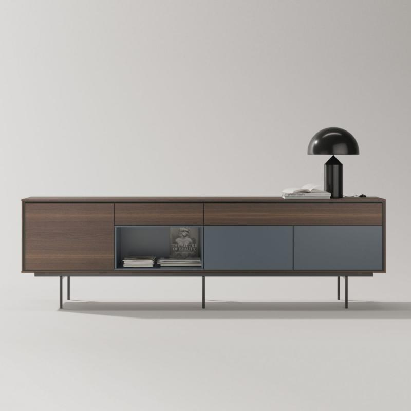 Aura Sideboard, 260x77cm, Fume Oak and Grey Blue