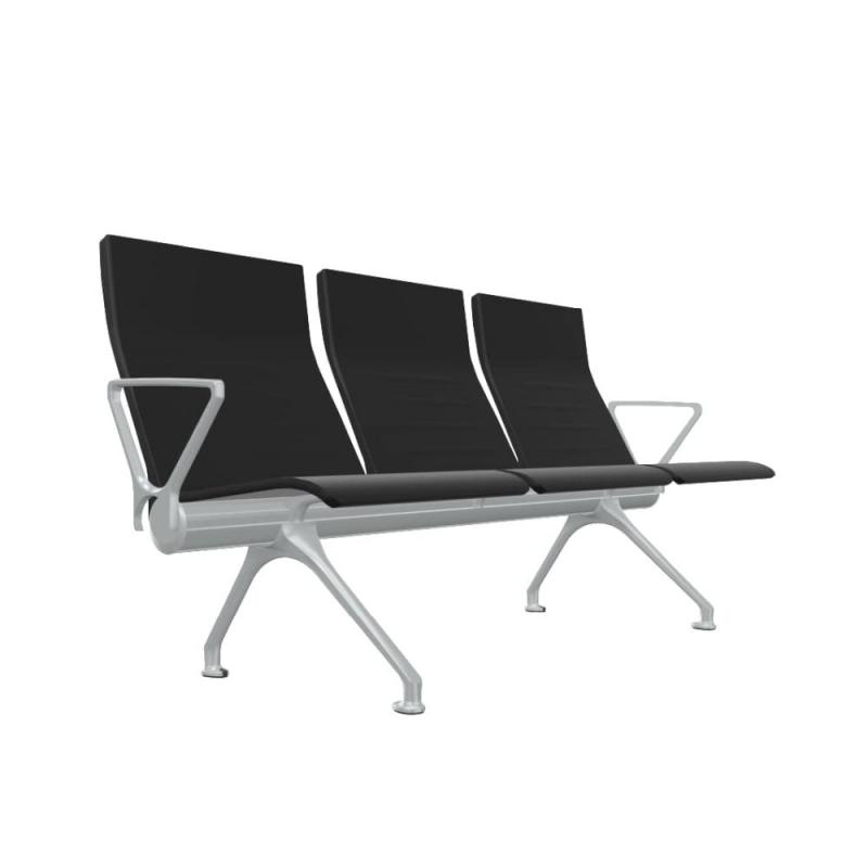 Avant Bench, 3-Seater With External Arms, Black