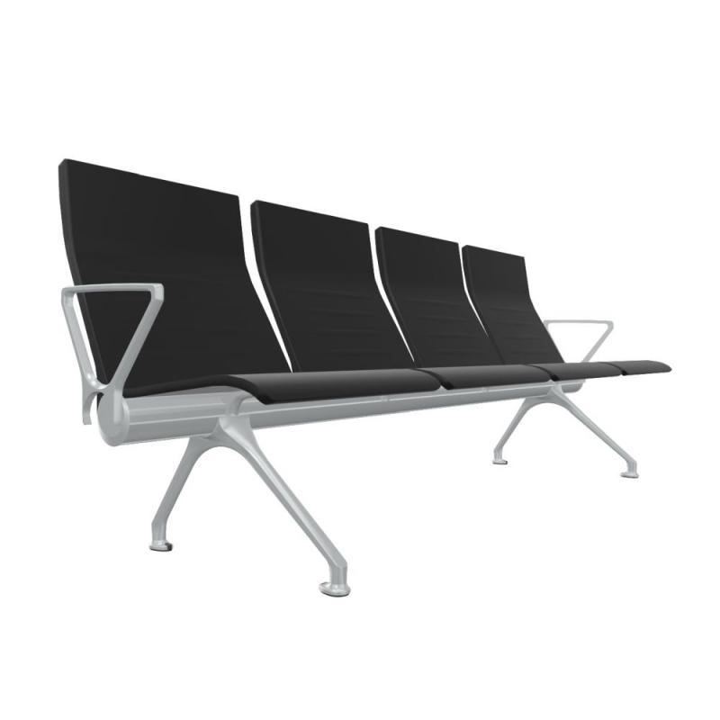 Avant Bench, 4-Seater With External Arms, Black
