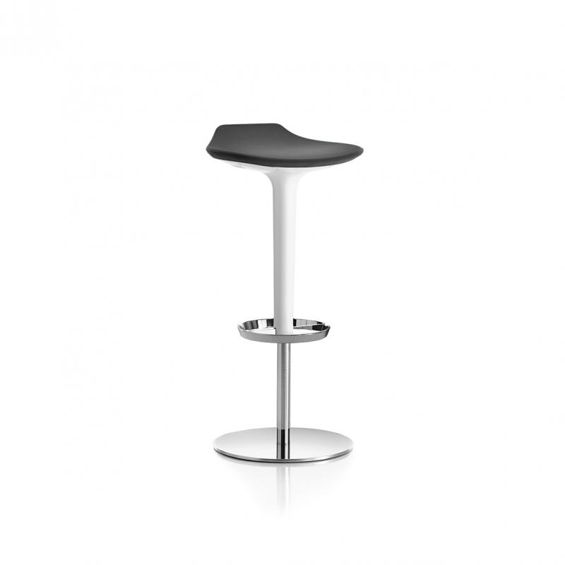 Babar Stool, Black Seat / Chromed Base