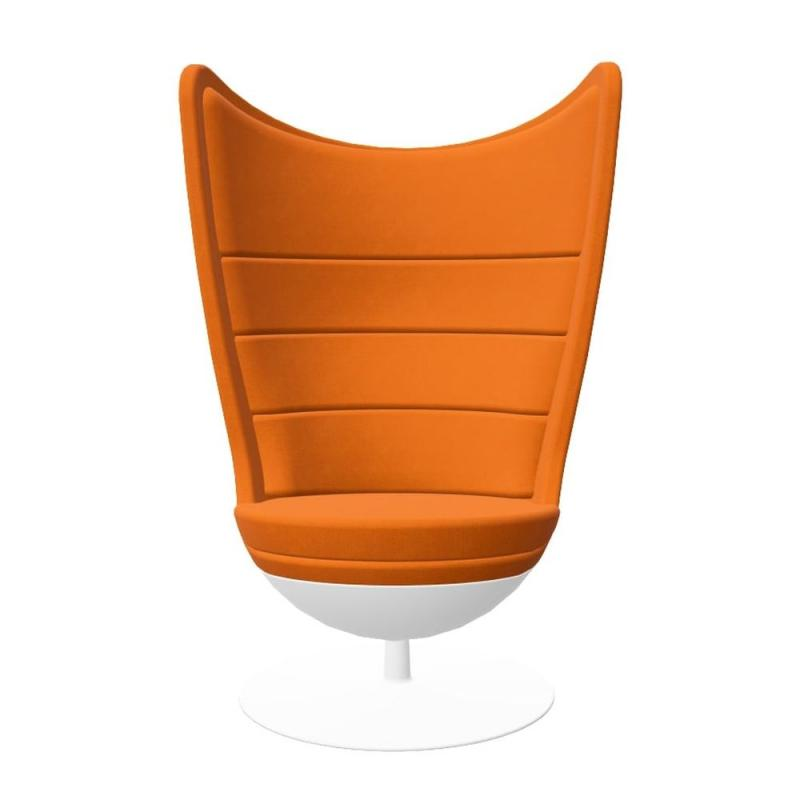 Badminton Armchair, Orange Upholstery /  Matt White Shell & Base