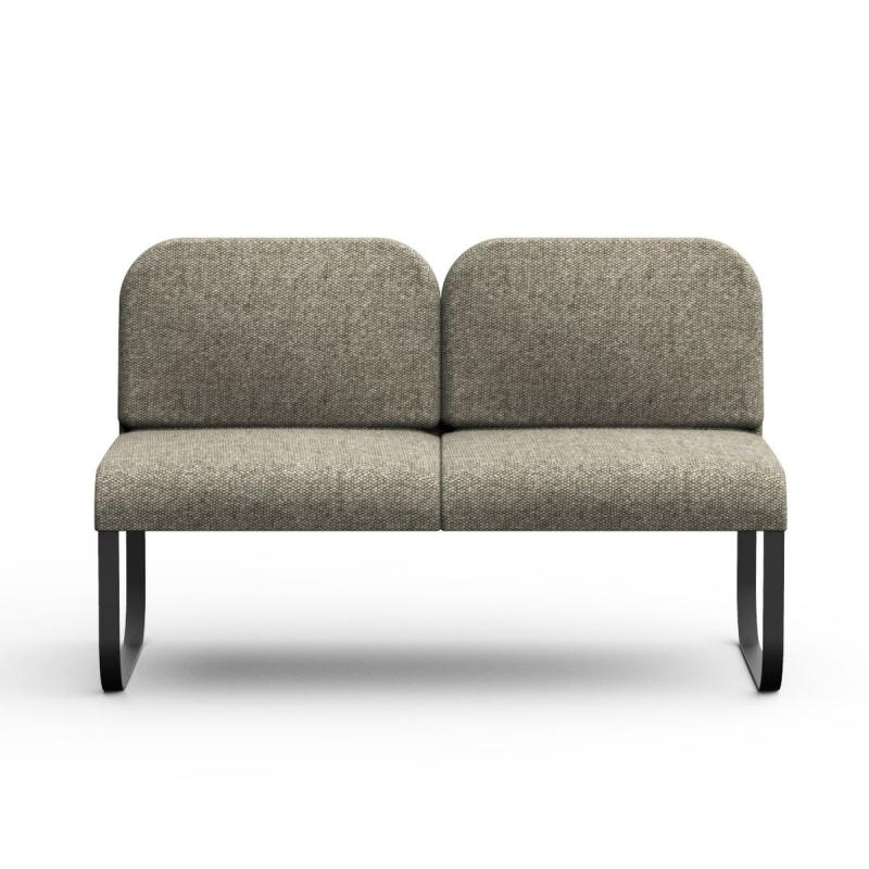Bail Sofa With Coffee Table, Dark Grey Upholstery / Black Metal Frame