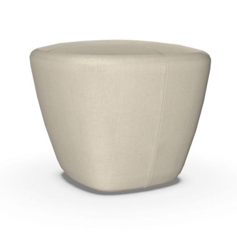 Beat Ottoman, Beige-White Upholstery