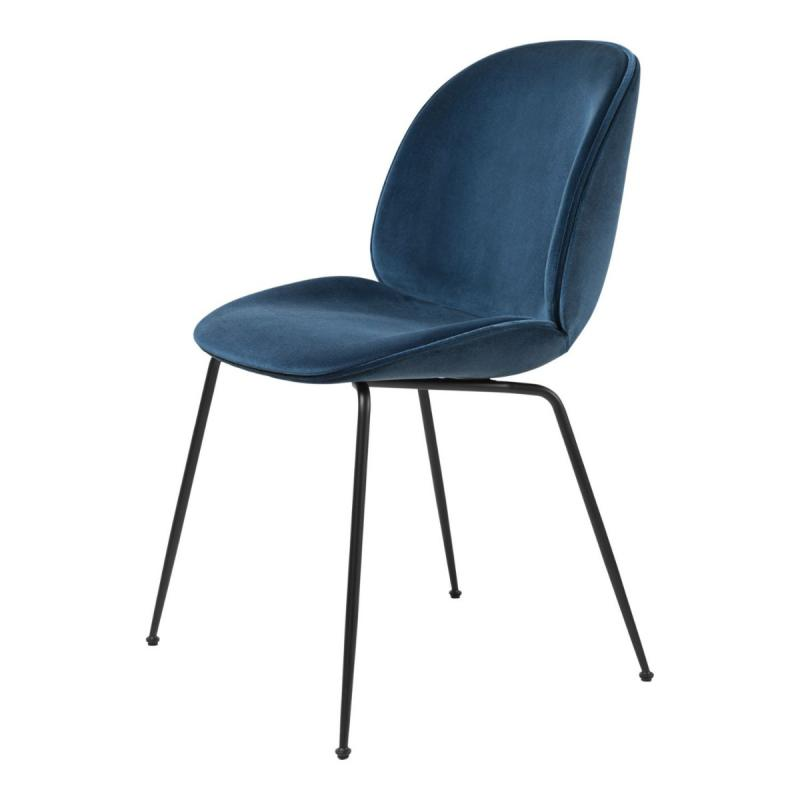 Beetle Dining Chair, Dark Blue Upholstery / Golden Piping / Black Chrome Base