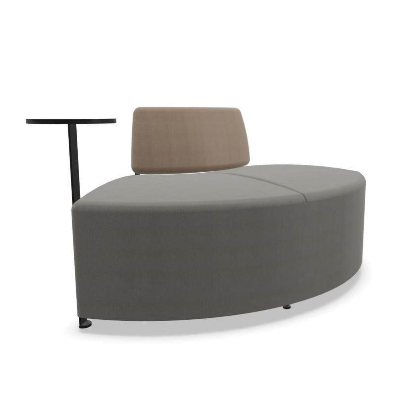 Bend Soft Seating, Curved Symmetric 64cm Side Module With Backrest & Side Table, Grey / Brown