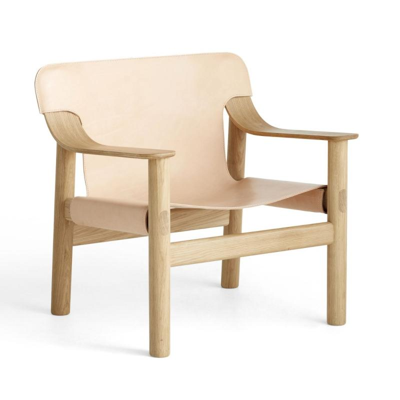 Bernard Easy Chair, Nature Leather Shell / Oak Base