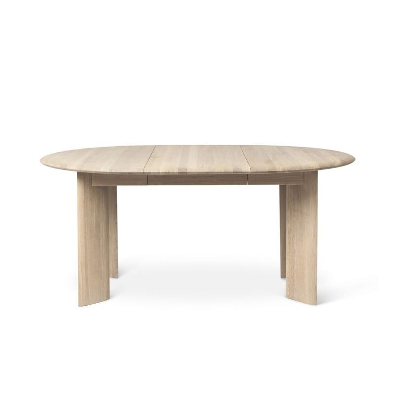 Bevel Table, Extendable, Ø117-167cm, White Oiled Oak