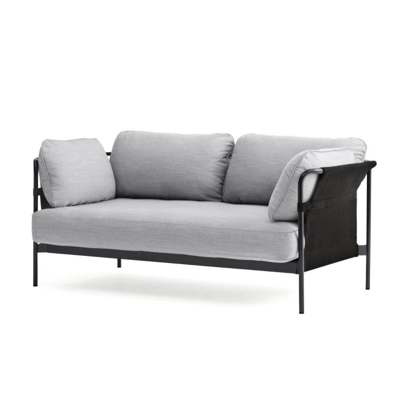Can Sofa, 2-Seater, Grey Upholstery / Black Frame