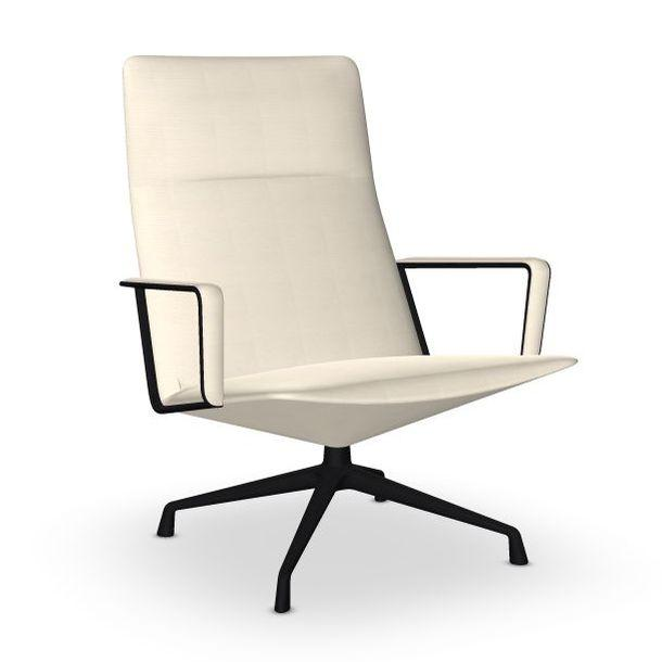 Capri Lounge Chair, White Upholstery / Black Swivel Base