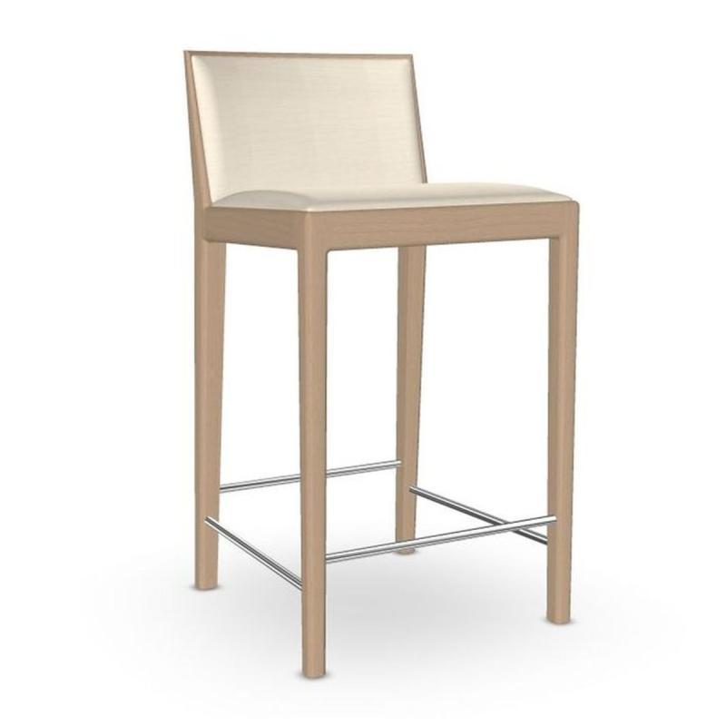 Carlotta Counter Stool, White Upholstery / Wooden Legs