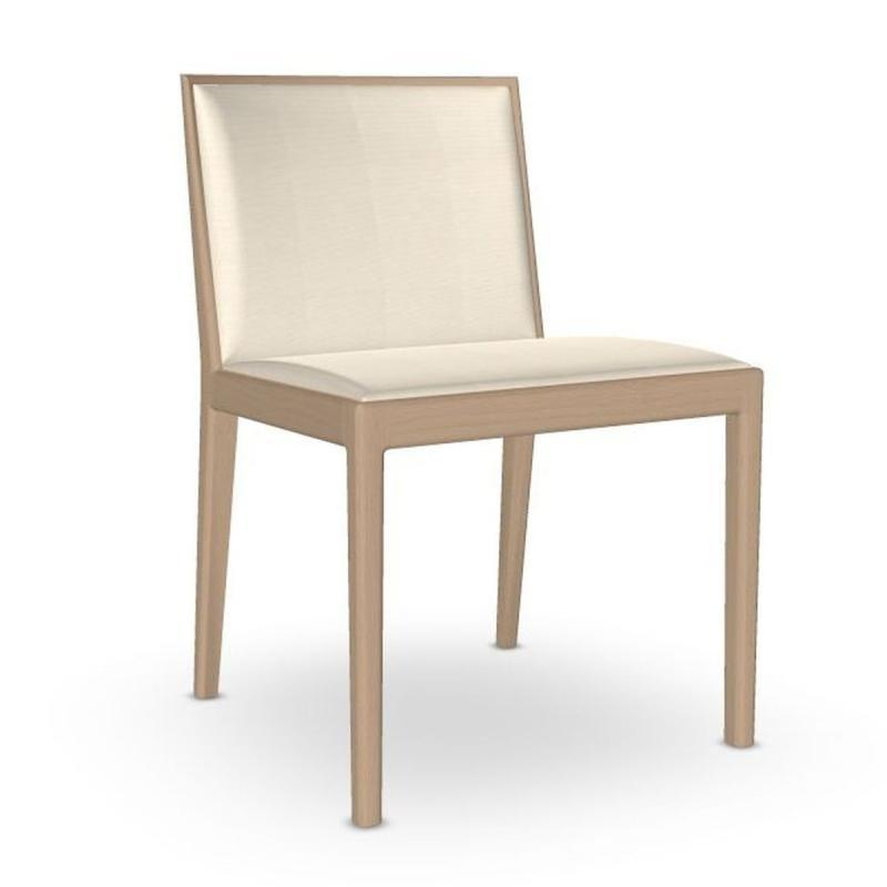 Carlotta Chair, White Upholstery / Wooden Legs