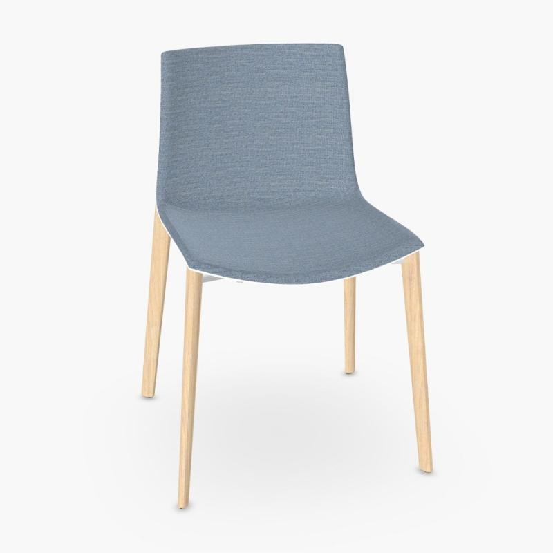 Catifa 46 Chair, Blue Fabric Front Upholstery / White Shell / Wood Legs