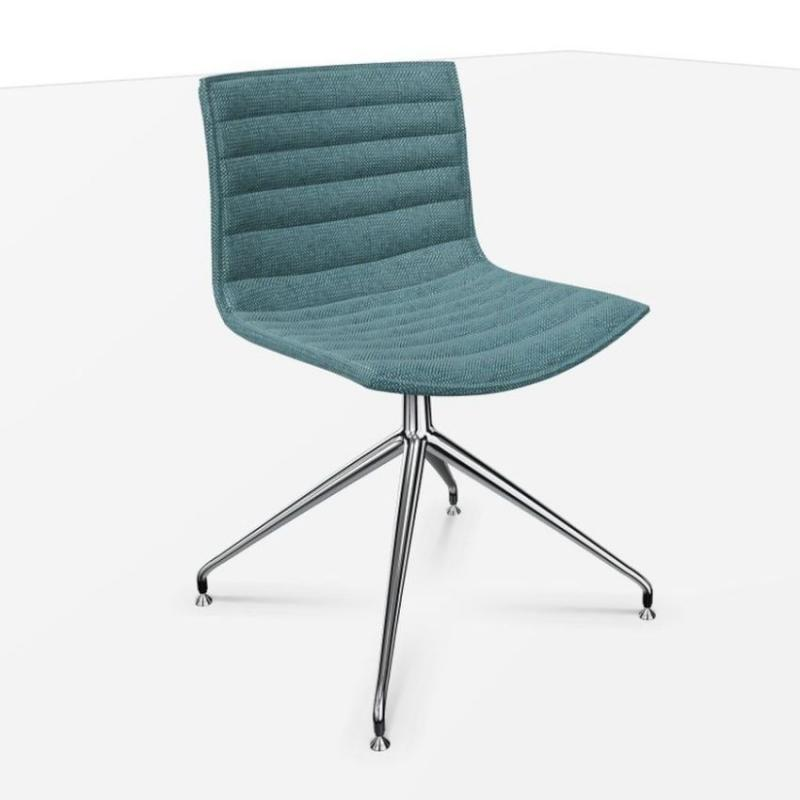 Catifa 46 Chair, Blue Fabric Seat / Chromed Swivel Base