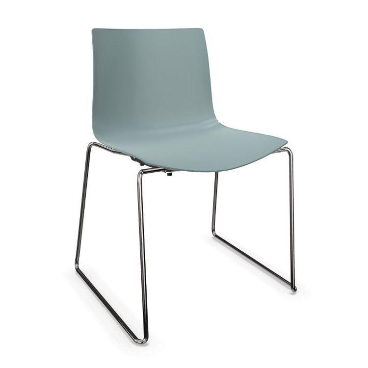 Catifa 46 Chair, Gray-Blue Shell / Chromed Sled Base