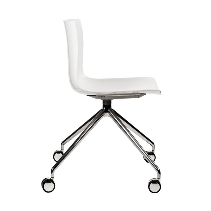 Catifa 46 Chair, White Shell / Aluminium Base With Castors