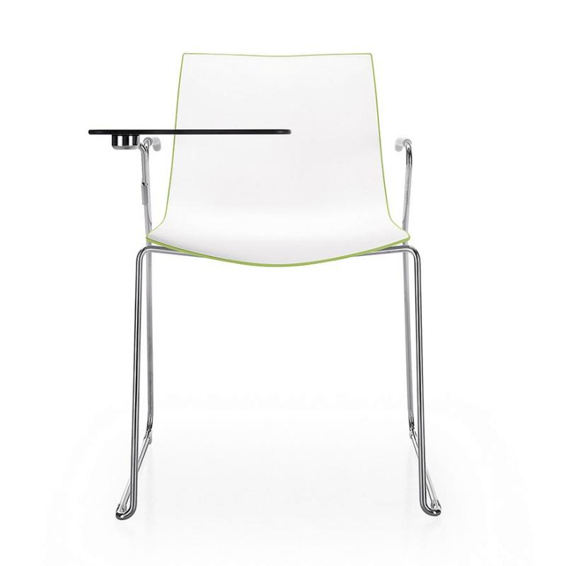Catifa 46 Chair With Writing Table, Black & White Shell / Chomed Sled Base