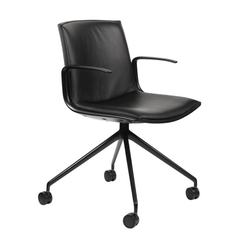 Catifa Up Chair With Arms, Black Leather Seat / Matt Black Swivel Base With Castors