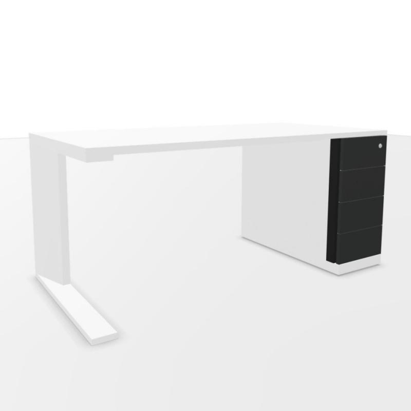 CE Desk, With Support Pedestal & 4 Drawers, 160x80cm, White Laminate Top / White Base